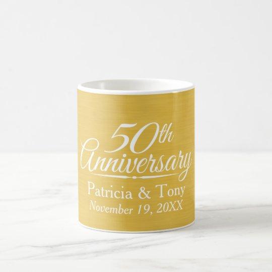 50th Wedding Anniversary Personalised Golden Coffee Mug