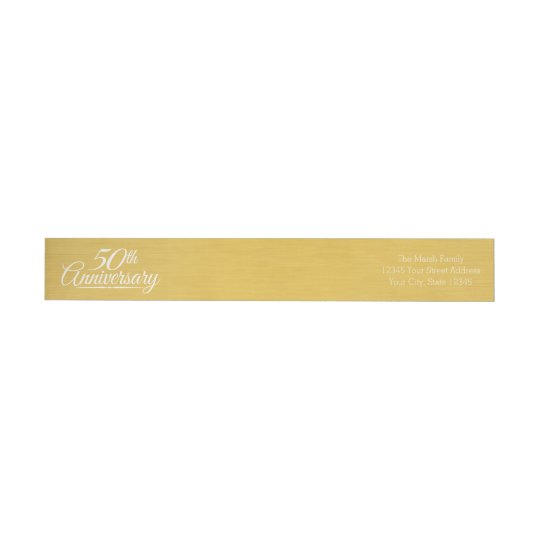 50th Wedding Anniversary Personalised Golden Wrap Around Label