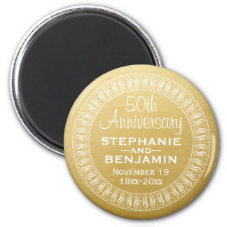 50th Wedding Anniversary Personalized gold Magnet