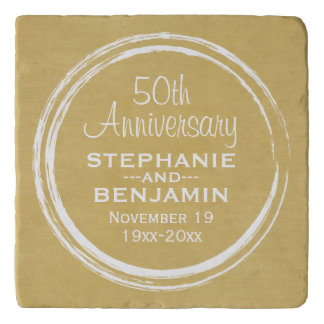 50th Wedding Anniversary Personalized gold Trivet