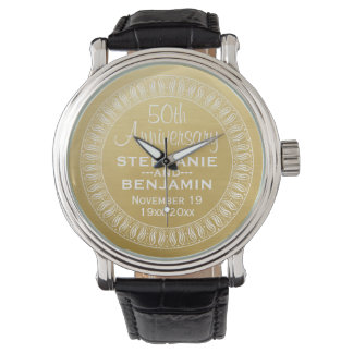 50th Wedding Anniversary Personalized gold Watch
