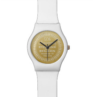 50th Wedding Anniversary Personalized gold Wristwatches