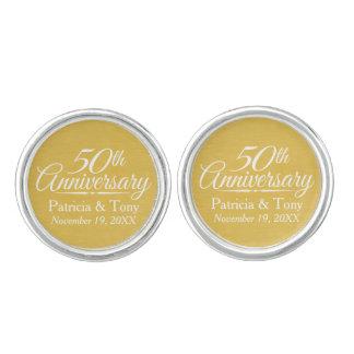 50th Wedding Anniversary Personalized Golden Cufflinks