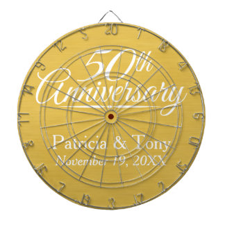 50th Wedding Anniversary Personalized Golden Dartboards