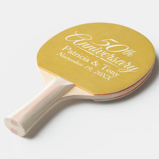 50th Wedding Anniversary Personalized Golden Ping Pong Paddle