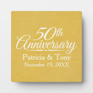 50th Wedding Anniversary Personalized Golden Plaques