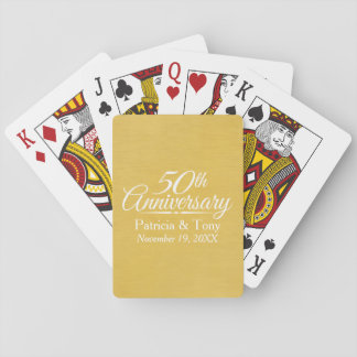 50th Wedding Anniversary Personalized Golden Poker Deck