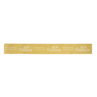 50th Wedding Anniversary Personalized Golden Satin Ribbon
