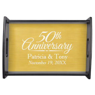 50th Wedding Anniversary Personalized Golden Serving Tray