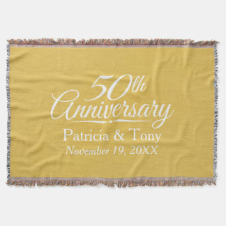 50th Wedding Anniversary Personalized Golden Throw Blanket