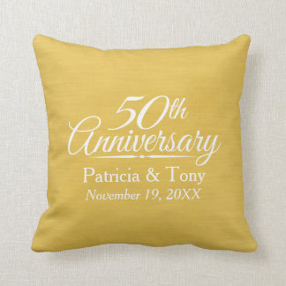 50th Wedding Anniversary Personalized Golden Throw Pillow