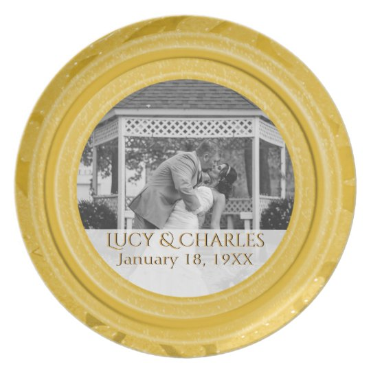 50th Wedding Anniversary Photo | Gold Keepsake Plate