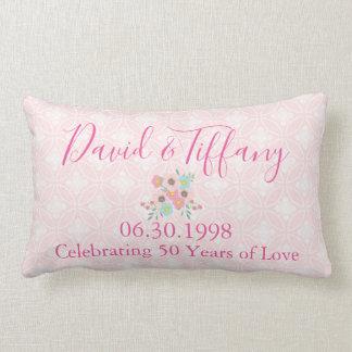 50th Wedding Anniversary Pink and Silver Lumbar Cushion