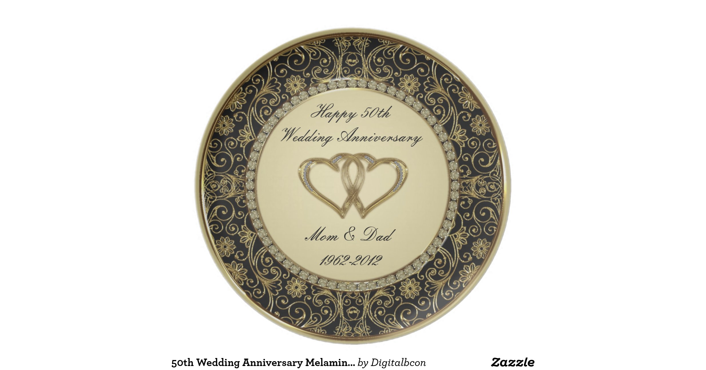 Gold Glass 50th Anniversary Plate With Cross Elegant