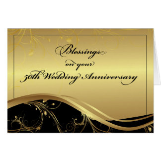 50th Wedding Anniversary Religious, Black and Gold Greeting Card