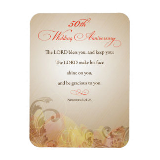 50th Wedding Anniversary, Religious Lord Bless Rectangular Photo Magnet
