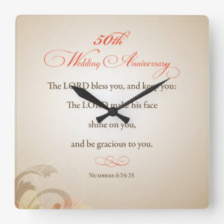 50th Wedding Anniversary, Religious Lord Bless Square Wall Clock