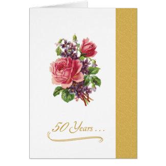 50th Wedding Anniversary Romantic Pink Roses Greeting Card