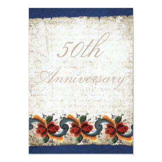 50th Wedding Anniversary Rosemaling Custom 13 Cm X 18 Cm Invitation Card
