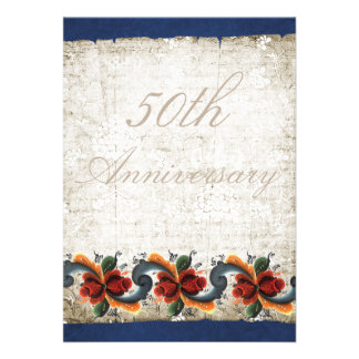 50th Wedding Anniversary - Rosemaling Personalized Announcements