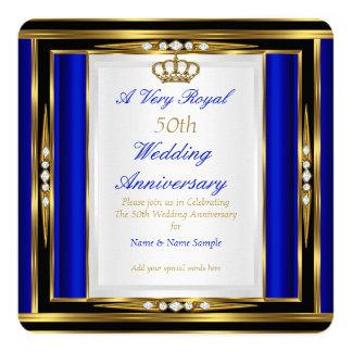 50th Wedding Anniversary Royal Blue Gold Crown 2 13 Cm X 13 Cm Square Invitation Card