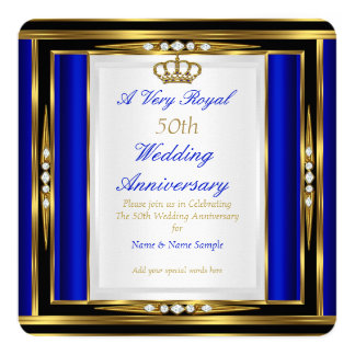 50th Wedding Anniversary Royal Blue Gold Crown 2 13 Cm X 13 Cm Square Invitation Card
