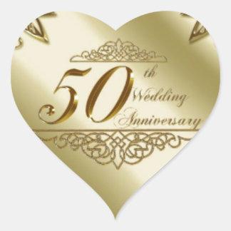 50TH WEDDING ANNIVERSARY SOUVENIRS HEART STICKER