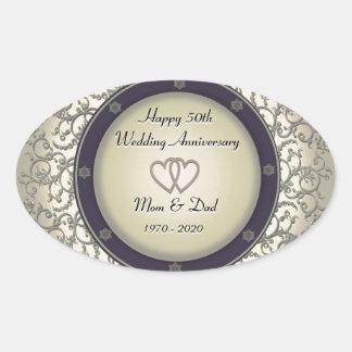 50th Wedding Anniversary Oval Sticker