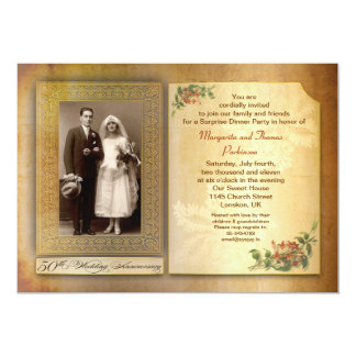50th wedding anniversary vintage aged photo invite