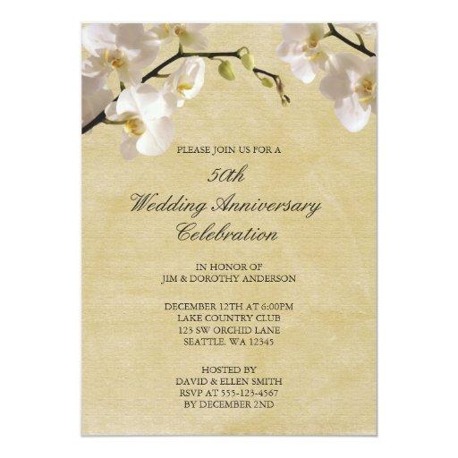 50th Wedding Anniversary Vintage White Orchid 13 Cm X 18 Cm Invitation Card