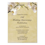 50th Wedding Anniversary Vintage White Orchid Personalised Invitation