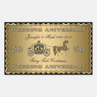 50th Wedding Anniversary-Wedding Horse & Carriage Rectangular Stickers