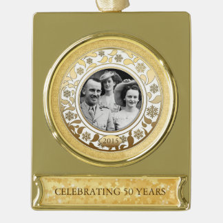50th Wedding Golden Anniversary Photo Template 2 Gold Plated Banner Ornament