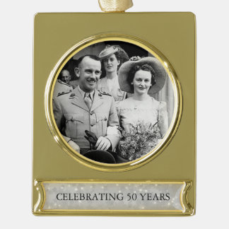 50th Wedding Golden Anniversary Photo Template 3 Gold Plated Banner Ornament
