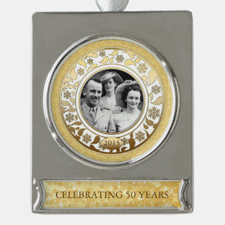 50th Wedding Golden Anniversary Photo Template Silver Plated Banner Ornament