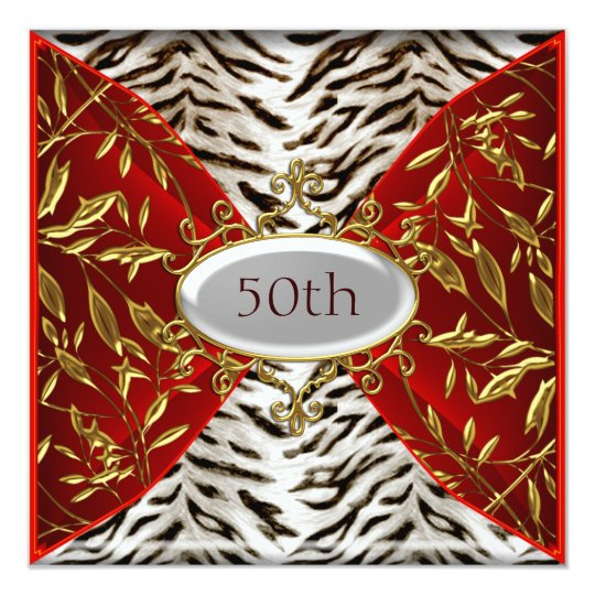 50th White Tiger Red  Birthday Anniversary 13 Cm X 13 Cm Square Invitation Card