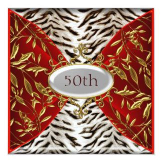 """50th White Tiger Red  Birthday Anniversary 5.25"""" Square Invitation Card"""