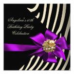 50th Zebra Purple Gold Cream Black Birthday Party 13 Cm X 13 Cm Square Invitation Card