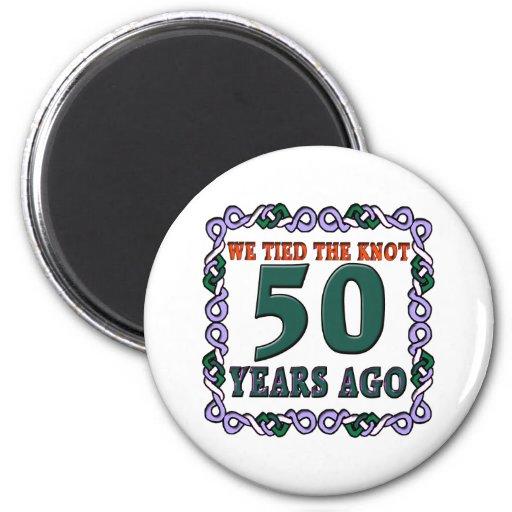50thweddinganniversary 6 cm round magnet