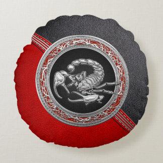 [510] Sacred Silver Scorpion on Black Round Cushion