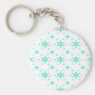 518 Cute Christmas snowflake pattern.jpg Basic Round Button Key Ring