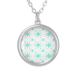 518 Cute Christmas snowflake pattern.jpg Round Pendant Necklace