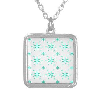 518 Cute Christmas snowflake pattern.jpg Square Pendant Necklace