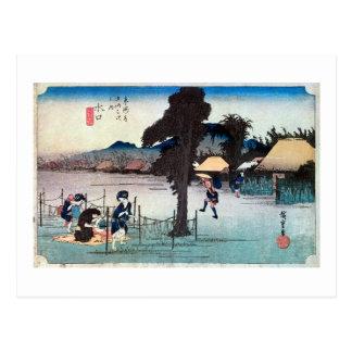 51. 水口宿, 広重 Minakuchi-juku, Hiroshige, Ukiyo-e Postcard
