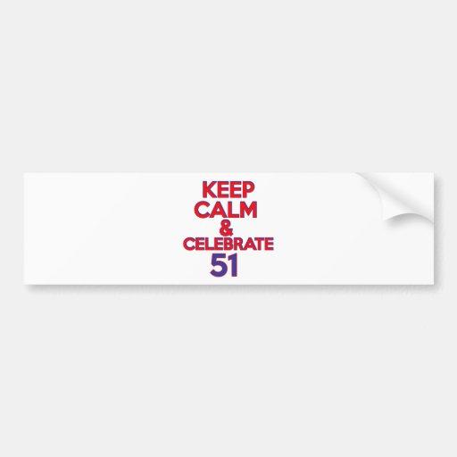 51 birthday design bumper stickers