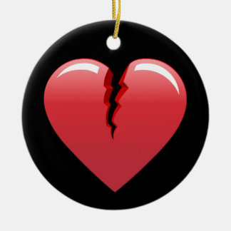 51 CORAL BROKEN HEART LOVE LOST PAST SAD BLACK BAC ROUND CERAMIC DECORATION