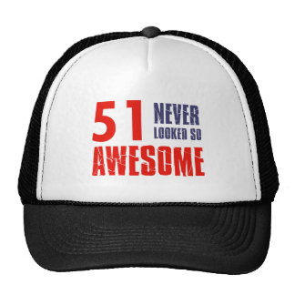 51 year  birthday designs mesh hat