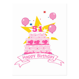 51 Year Old Birthday Cake Postcard