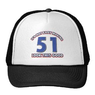 51 years Old birthday designs Cap