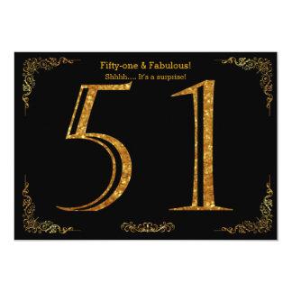 51st Birthday party,Gatsby styl,black gold glitter Card